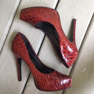 Jessica Simpson | Leather Red Snake Print Heels